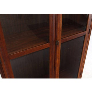 Mid-Century Modern Tall Oiled Walnut Two Doors Beveled Glass Bookcase Cabinet Preview