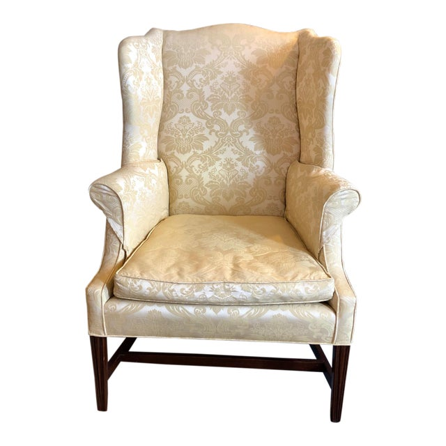 1960s Vintage High End American Hepplewhite Wing Back Chair For Sale