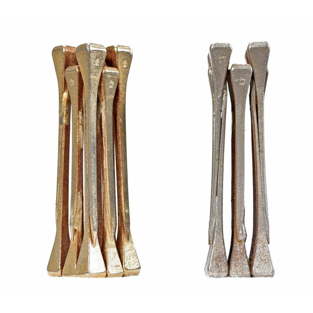 Bronze Brutalist Style Handcrafted Steel Nail Silver and Bronze Chess Set For Sale - Image 7 of 9