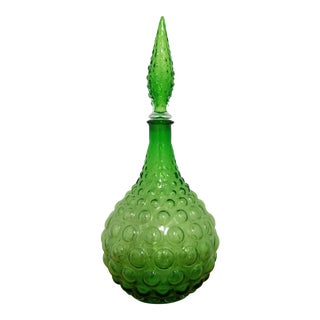 1960's Empoli Style Art Glass Emerald Genie Decanter For Sale