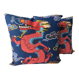 Schumacher Magical Ming in Navy Down Filled Pillows - a Pair For Sale