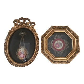 Antique Framed Porcelain Brooches - a Pair For Sale