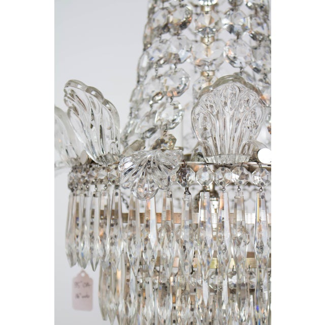 Hollywood Regency Restored Antique Regency Style Silver and Crystal Chandelier For Sale - Image 3 of 8