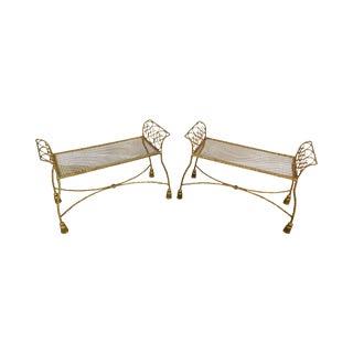 Hollywood Regency Vintage 1960's Italian Gilt Metal Pair Rope & Tassel Benches For Sale