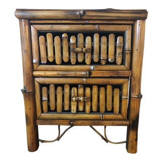 Boho Scorched Bamboo Nightstand For Sale