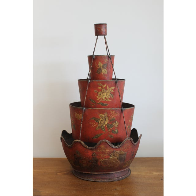 18th Century 18th Century Red Tole Four-Tier Monteith For Sale - Image 5 of 5