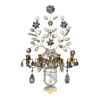 Baguès Four-Light Bird Rock Crystal Wall Sconce For Sale