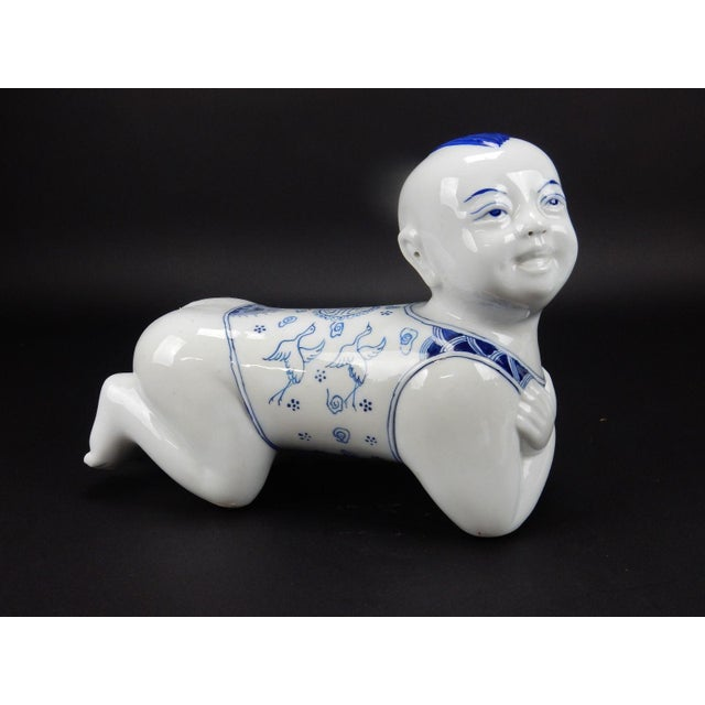 Chinese hand painted blue and white porcelain pillow/ statue. Long life symbols. Great colors and detail.