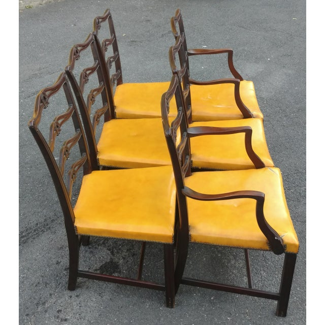 Chippendale 19th C. Antique English Carved Mahogany Chippendale Dining Chairs- Set of 6 For Sale - Image 3 of 6