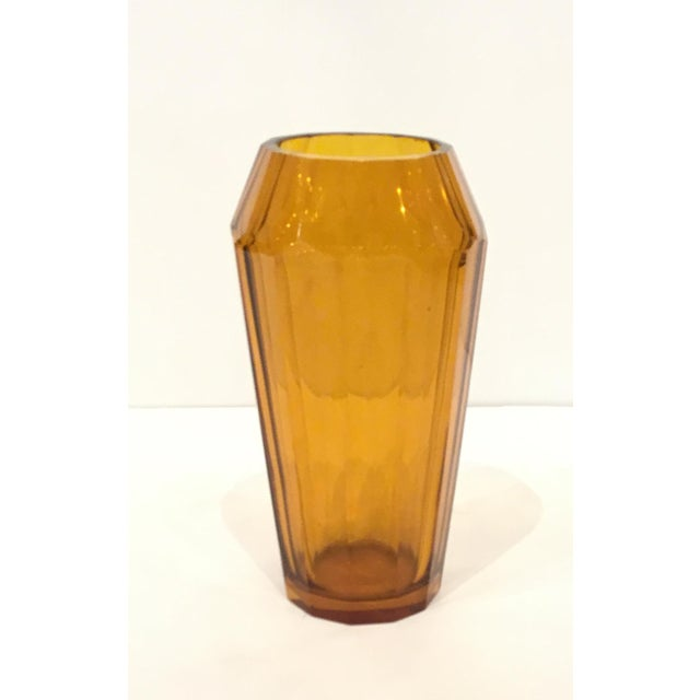 1920s Vintage Moser Amber Art Glass Vase For Sale - Image 5 of 5