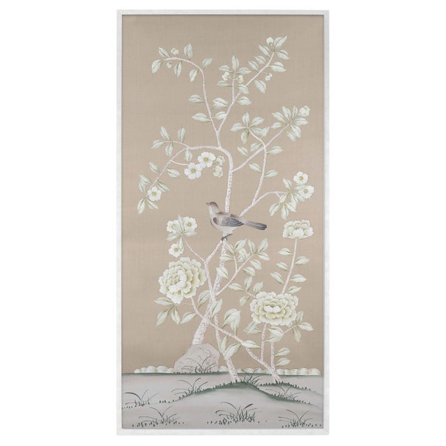 Delicate pale ivory and botanicals painted on a neutral silk color almost defying definition; vaguely beige, a slight dove...