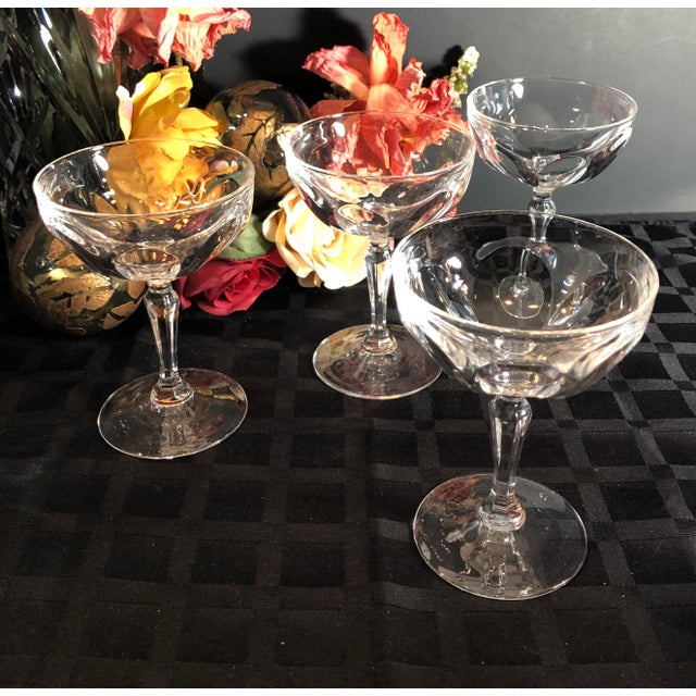 """Set of 4 Tall Champagne / Dessert Cup Cristal D'Arques Durrand """"Washington"""" Glasses For Sale In Phoenix - Image 6 of 11"""