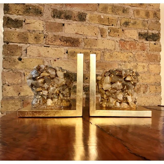 Quartz Stone Gold Leaf Bookends - A Pair - Image 2 of 9