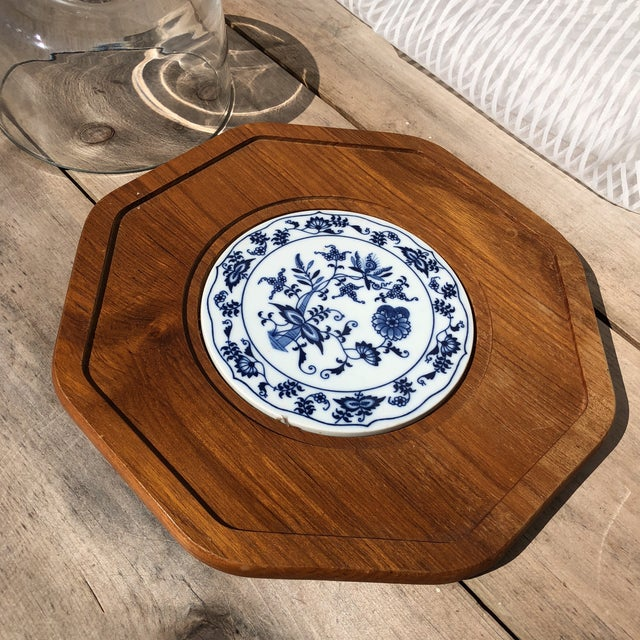 Blue and White Dolphin Teakwood Cheese Plate With Glass Dome For Sale - Image 4 of 7