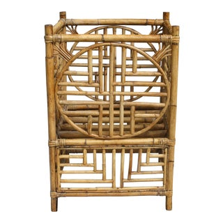 Vintage Bamboo Chinoiserie Chinese Chippendale Style Planter For Sale