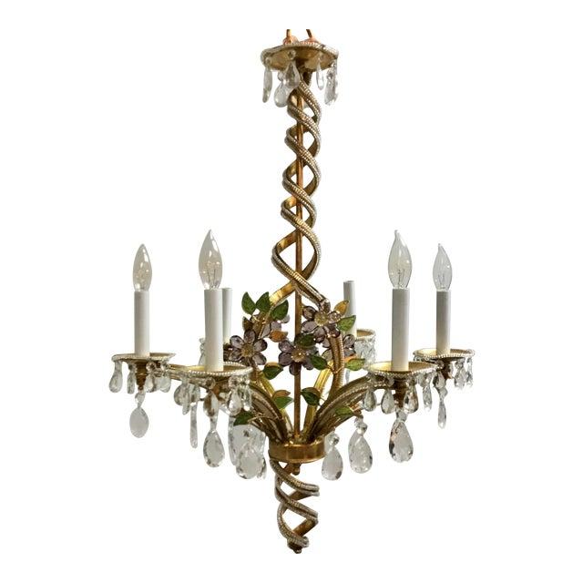 Myran Allen Luxury Lighting Traditional Italian Iron and Crystal Chandelier For Sale