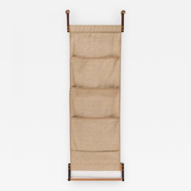 Mid-Century Wallmount Canvas Leather Magazine Rack For Sale In New York - Image 6 of 6