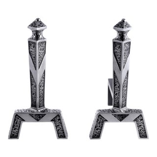 Ref #7816 Polished Steel and Black Andirons For Sale