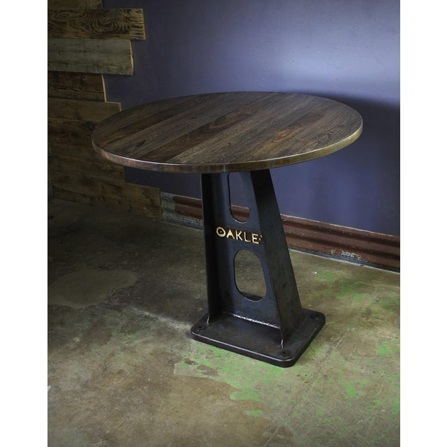 1930s Vintage Cast Iron Machine Base Oak Pub Table For Sale In Chicago - Image 6 of 6
