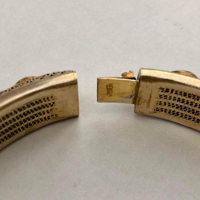 1920s Vintage Chinese Gilt Silver Jade Hinged Bangle Bracelet For Sale - Image 5 of 6