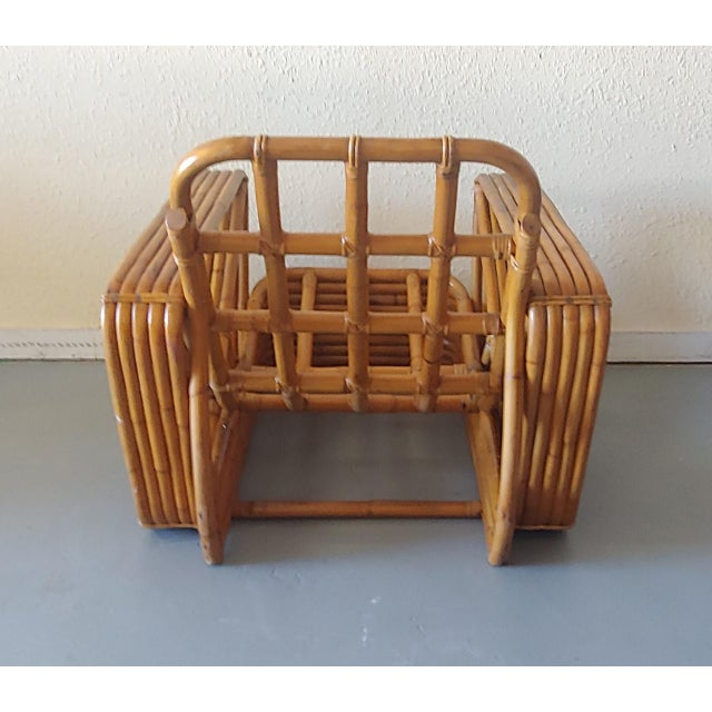 Mid 20th Century Paul Frankl Style Swoop Seat Rattan Lounge Chair For Sale - Image 9 of 13
