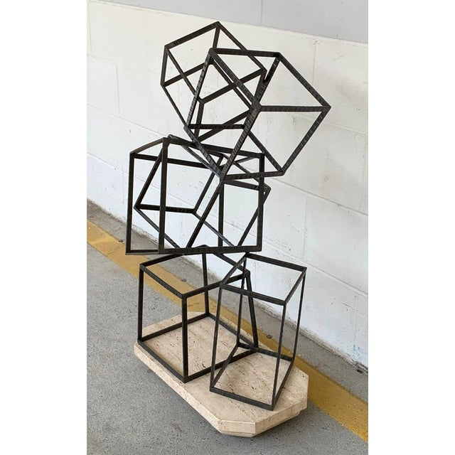 Modern Forged Iron & Travertine Quadrilaterals Sculpture For Sale - Image 9 of 11