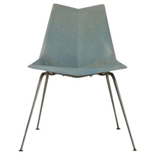 Paul McCobb Blue-Grey Origami Side Chair, USA, 1950s For Sale