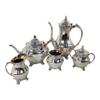 Mid-Century Oneida Community Silverplate Coffee & Tea Service - Set of 5 For Sale