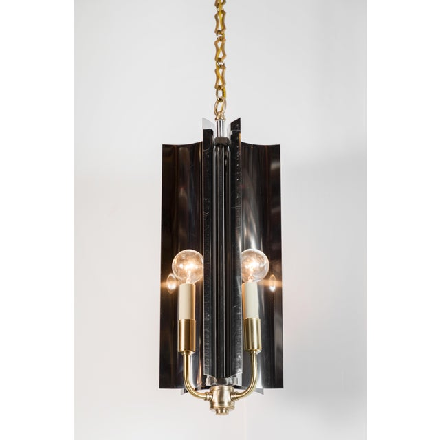 Metal Sculptural Mid-Century Modern Curved Pendant with Reflective Qualities For Sale - Image 7 of 7