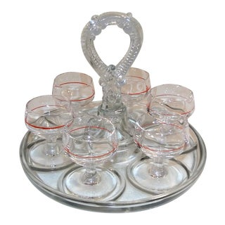 Vintage Crystal Glass Stemmed Cordial Shot Glasses On Server For Sale