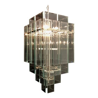 Large 17-Light Minimalist Modern Glass Chandelier by Forecast Lighting 1970s For Sale