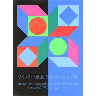 """1970s Victor Vasarely, """"Pittsburgh International"""", Op Art Poster For Sale"""