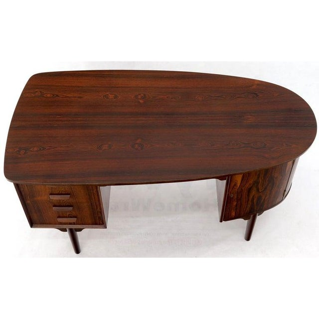 Half Oval Shape Danish Mid-Century Modern Rosewood Desk With Bookcase For Sale - Image 6 of 13