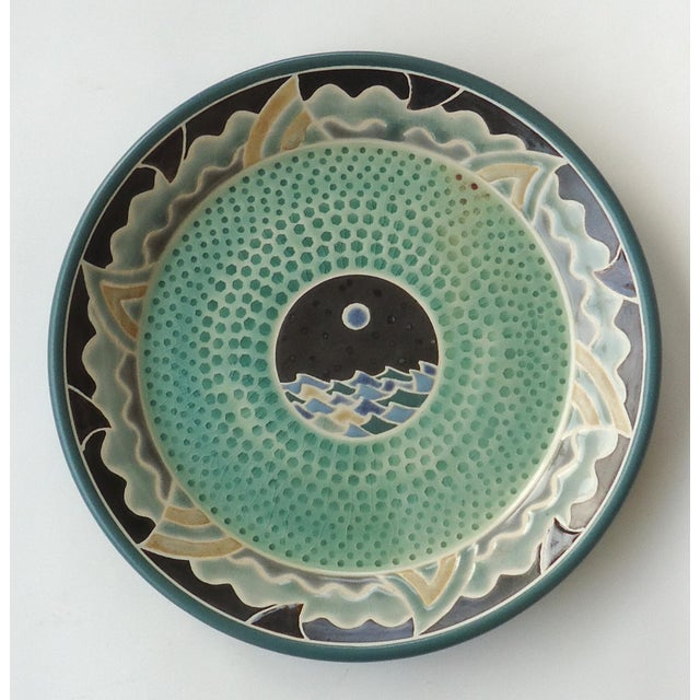 Organic Modern Moon Over Seascape Studio Green Pottery Platter For Sale - Image 6 of 6
