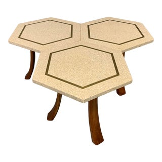 Harvey Probber Hexagonal Side Table Set with Terrazzo Stone Tops - 3 Pieces For Sale