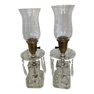 Vintage Crystal Prism Hurricane Electric Lamps - a Pair For Sale