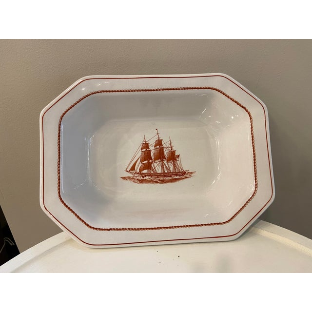 Ceramic Wedgewood Flying Cloud Rust Oval Vegetable Bowl For Sale - Image 7 of 7
