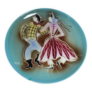Sasha Brastoff Western Style Ceramic Plate For Sale