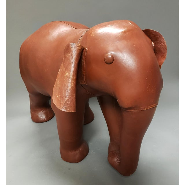 Leather Very Large Mid Century Brown Leather Elephant Statue Ottoman For Sale - Image 7 of 7