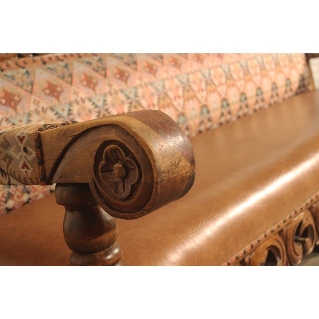 Spanish Carved Pine Bench - Image 3 of 10