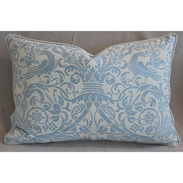 """Fortuny 26"""" X 18"""" Custom Tailored Italian Fortuny Uccelli Feather/Down Pillows - a Pair For Sale - Image 4 of 11"""