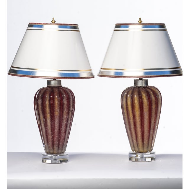 Italian Mid-Century Murano Lamps - a Pair For Sale - Image 4 of 4