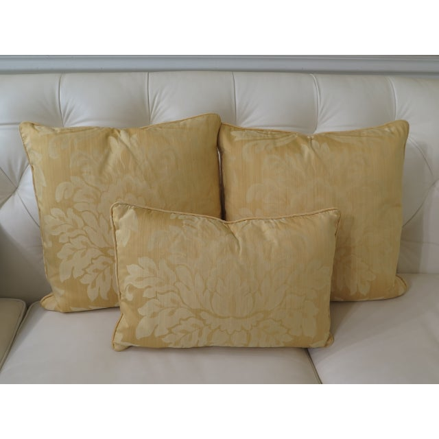 2010s Gold Damask Decorative Pillows - Set of 3 For Sale - Image 5 of 5