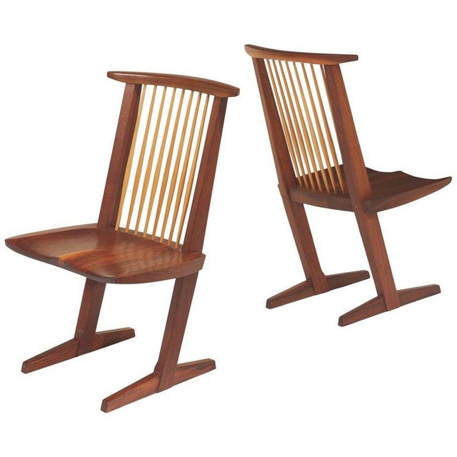 Vintage George Nakashima, Rare Sculptural Conoid Chairs- A Pair For Sale - Image 10 of 11