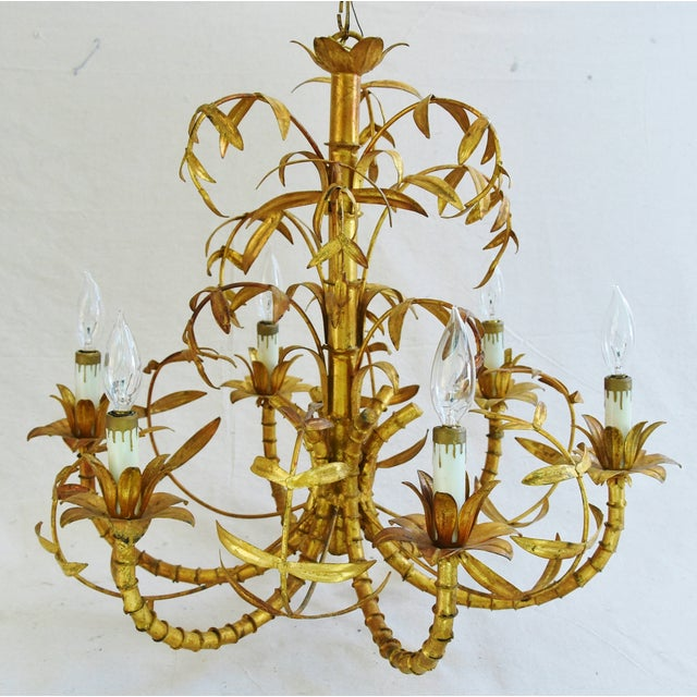 Vintage Italian Six-Arm/Light Gold Gilt Bamboo Tole Chandelier - Image 6 of 11