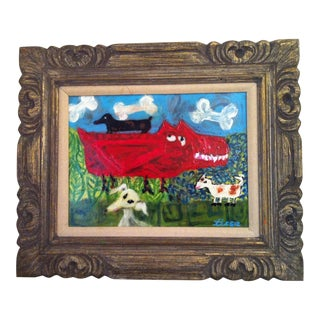 "Boho Chic Folk Art Primitive Original ""It's a Dog Eats Dog World"" Painting 22""x18"" Wood Frame For Sale"