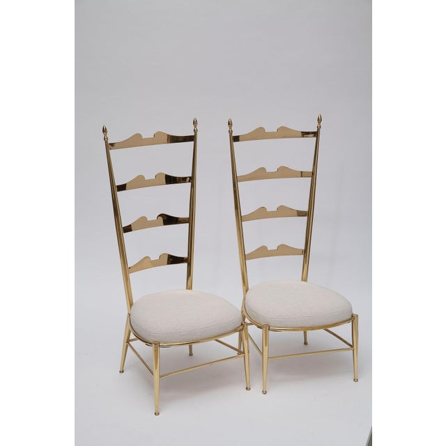 Rare Tall Back Brass Chiavari Chairs With Truncated Legs For Sale - Image 4 of 11