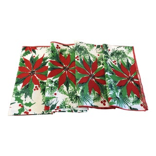 Christmas Poinsettia Red & Green Table Napkins - Set of 4 For Sale