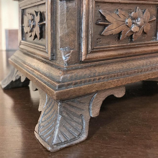 Jewelry Box, 19th Century French Hand-Carved Walnut For Sale - Image 9 of 12
