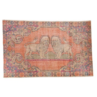 "Vintage Distressed Oushak Rug - 4'6"" X 6'11"" For Sale"
